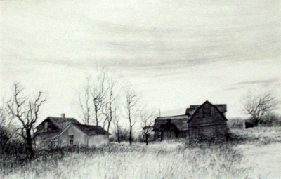 "My Tokaido #53, Home Farm, ball point pen, 12""x18"""