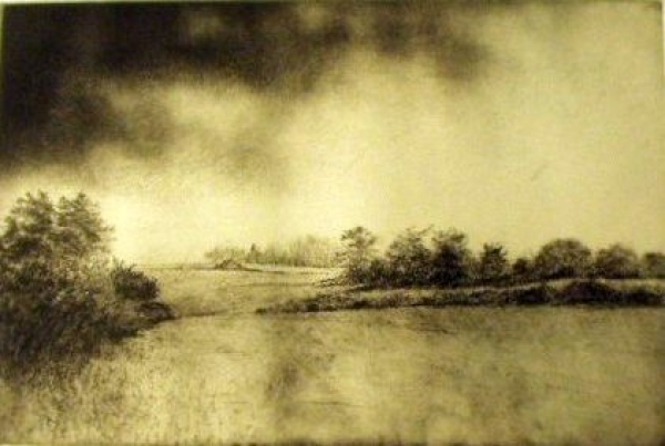 "Orchard, Gap, Swale, etching/aquatint, 12""x18"""