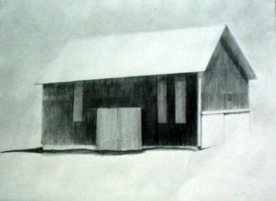 "Thompson's Barn, pencil, 10""x13"""