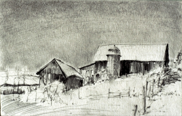 "Barn on Route 414, Burdett, pencil, 4""x7"""
