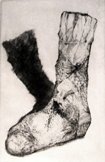 "Sock of Cockrates, engraving, 15""x9"""