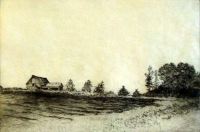 "Plowed Ground at Kelley's Corners, etching, 8""x12"""