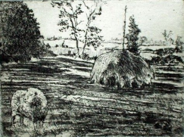 "Haystack with Sheep, etching, 3""x5"""