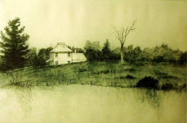 "House up Inlet Valley, etching/aquatint, 12""x18"