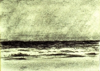 "Surfside Beach, Nantucket, charcoal, 4""x5"""