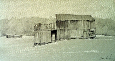 """Patched Barn, Inlet Valley, pencil/chalk, 7""""x12"""""""