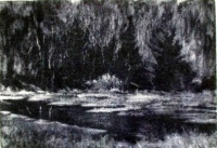 "Blackwater Backwater, mezzotint, 6""x8"""