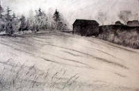 "Barn in Burned Over District, charcoal, 26""x40"""