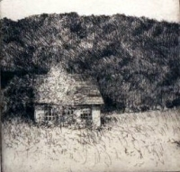 "Empty Cottage, Montour Falls, etching, 6""x6"""