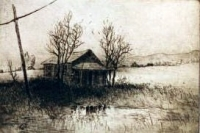 "Shack, Bullville, etching, 5""x7"""