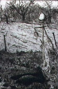 "Scarecrow # 22, etching,6""x4"""