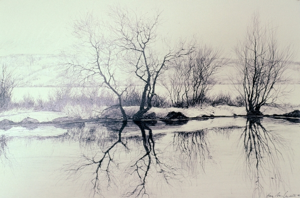 "Tokaido#45, ""Pond on Rte. 89"", ballpoint pen,12""x18"""