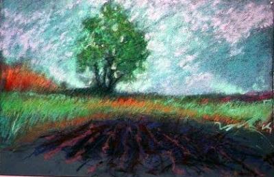 "Garden with Tree, pastel, 14""x20"""