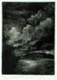 "Land and Light, mezzotint, 3""x4"""