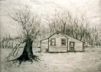"Wee House with Sprouted Stump, engraving, 6""x8"""